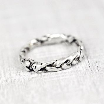 braided heart stacking ring