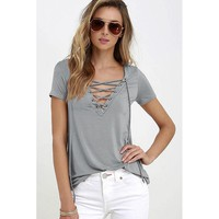Lace Up T Shirt Women Sexy V Neck Hollow Out Top Casual Basic Female T-shirt Plus Size