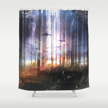 Absinthe forest Shower Curtain by HappyMelvin
