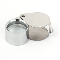 uxcell® Silver Tone 30x21mm Folding Jewelry Loupe Magnifying Glass Magnifier