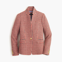 J.Crew Womens Regent Blazer In Red Houndstooth Plaid