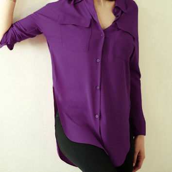 Purple Lapel Split Pockets Blouse