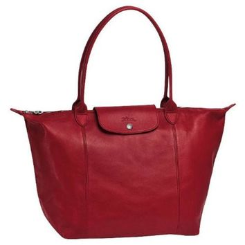 Longchamp Le Pliage Cuir Shopping Tote Red