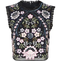 Needle & Thread Embroidered Lace Trim Crop Top