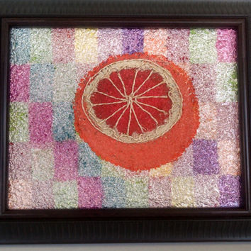 Grapefruit Art, Original Painting, Textured Art, Acrylic Painting, Mixed Media, Ruby Red Grapefruit, Textured Art, Colorful Art, Gift Idea