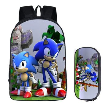 Super Mario party nes switch 16 inch  Bros Sonic the Hedgehog School Bag for Kids Boy Backpack Children School Sets Pencil Bag Toddler Schoolbag AT_80_8