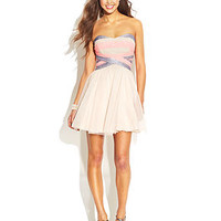 Teeze Me Juniors' Strapless Striped Sequin Dress
