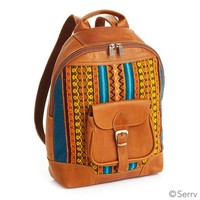Handbags & Shoulder Bags - Leather Tapestry Backpack
