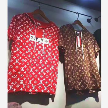 Supreme Fashion Print LV With Flower Embroider Monogram Short Sleeve Tee Top