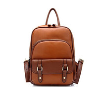 Women's Vintage Leather Backpack Travel Bag Daypack Brown