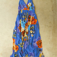 Cobalt Gardens Maxi Dress [3052] - $49.00 : Vintage Inspired Clothing & Affordable Fall Frocks, deloom | Modern. Vintage. Crafted.