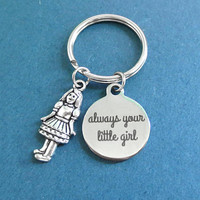 Girl, always your little girl, Silver, Key ring, Birthday, Lovers, Best friends, Mom, Sister, Gift, Jewelry, Accessories