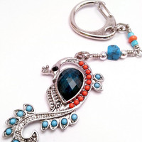 Peacock Pendant Keychain or Purse Pull with Blue and Orange Accent Beads - Bird Keychain - Decorative Keychain - Metal Peacock Purse Hook
