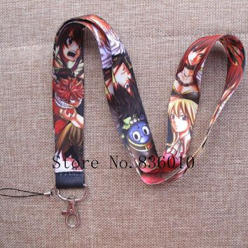 Hot Sale! 10 pcs  Cartoon Japanese anime Fairy Tail  Key Chains Mobile Cell Phone Lanyard Neck Straps   Favors P-31