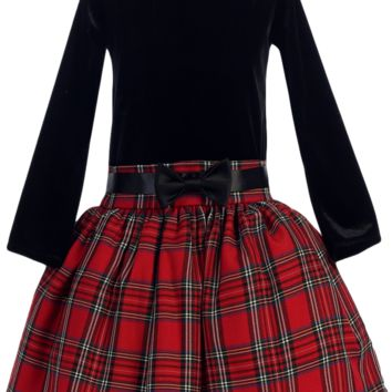 Black Stretch Velvet & Red Plaid Drop Waist Girls Holiday Dress 2T-10