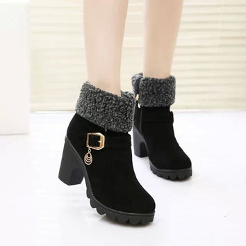 Hot Selling New 2017 Autumn and Winter Snow Boots Women Belt Buckle Female High Heel Martin Boots Fur Suede Mid Calf Shoes Black