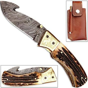Forged Damascus Folding Knife Guthook Stag Handle Engraved Brass