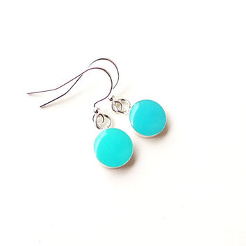 Small Blue Drop Earrings, Light Turquoise Blue Resin Earrings, Handmade Charm Earrings, Resin Jewelry Jewellery, Blue Jewelry, UK (1461)