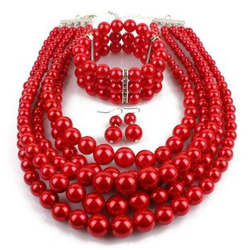 CREYV2S Gogoboi 3Pcs Multi Strand Simulated Pearl Necklace+Bracelet+Earrings Costume Jewelry Sets for Women