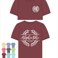 Alpha Phi  // A Phi // Sorority Comfort Color Pocket Tee (Nobilis)  Short Sleeve Tshirt // Greek Apparel // Choose Your Color