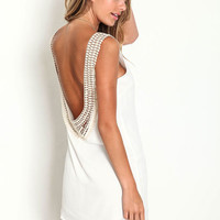 CROCHET SCOOPBACK SHIFT DRESS