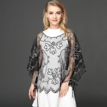 Summer Casual Loose Thin Mesh Embroidery Floral Cloak Cape See Through Lace Poncho Jacket