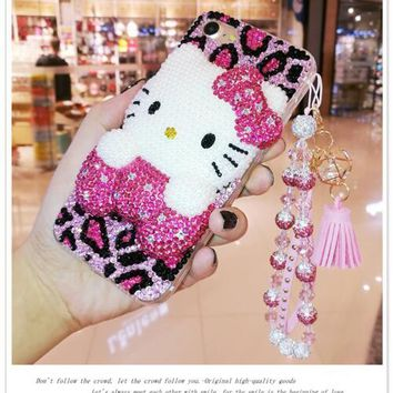 For Samsung Galaxy S4 S5 S6 S7 Edge S8 S9 Plus Note 3 4 5 8 9 G530 Cartoon Cute 3D Hello Kitty full Rhinestone Case Diamond Cove