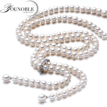 YouNoble Wedding real Freshwater pearl long mother necklace women,white real natural bridal pearl necklace body for girl jewelry