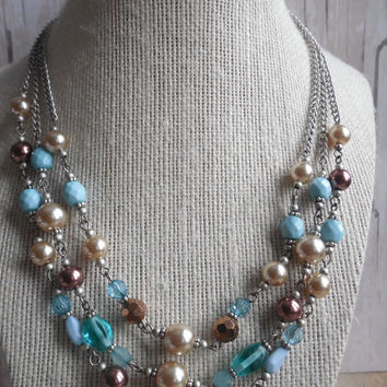 "8"" Premiere Designs Multi Strand Faux Pearl Necklace"
