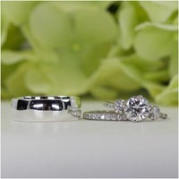 Sterling Silver Her & Him Wedding Set