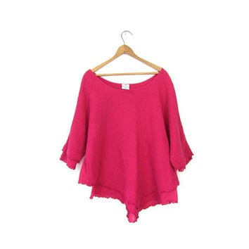 Pink Cotton GAUZE Basic Tee Shirt Boho Top Quarter Length Layered Magenta Scoop Neck Plain Tshirt Blouse Womens XL Vintage Extra Large