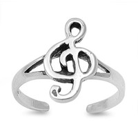 925 Sterling Silver Musical Note Bliss 12MM Mid-Finger/ Knuckle / Toe Ring