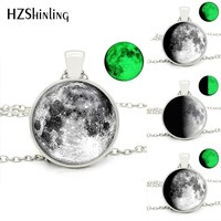 Glowing in the Dark Full Glowing Moon Glass Round  Pendant Moon Necklaces