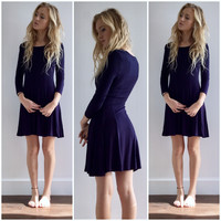 Navy Fit and Flare Tee Shirt Dress
