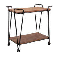 Austin Wood and Iron Rolling Table Cart