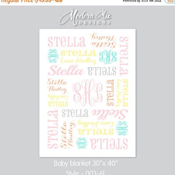 Personalized Baby Blanket, Baby Blanket Monogram, Baby Girl Stroller Blanket Custom Made You Choose Color Pink Yellow Gray Peach Aqua 003-61