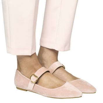 Office Faye Mary Jane Flats Pink Velvet - Flats