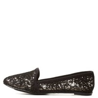 Black Crochet Lace Smoking Slipper Loafers by Charlotte Russe
