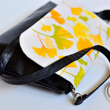 Vegan leather crossbody bag, Convertible bag, Hand painted leather purse, Yellow leaves original print, 5th anniversary gift, Shoulder bag