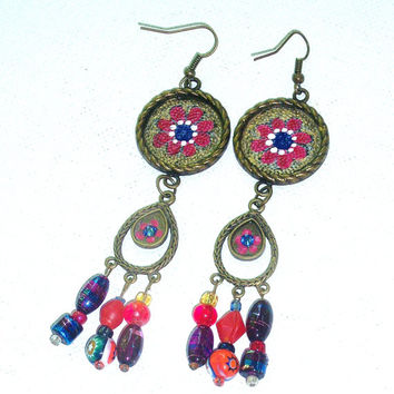 Colorful Boho Chic Funky Hand Painted Hippie Chic Long Chandelier Earrings