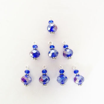 Dark Blue Charms - 8 Pcs. Crystal Charms - Handmade Beaded Charms - DIY Jewelry Parts - Crystal Jewelry Supplies - Jewelry Making - Gifts