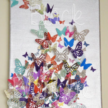 Butterfly Collage Canvas Painting - 8x10 Custom Order