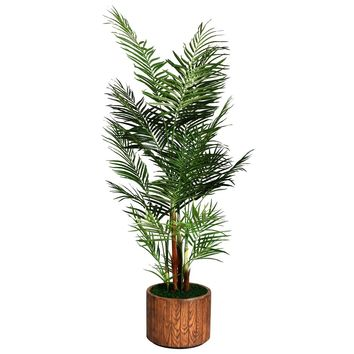 "81"" Artificial Areca Palm Tree in 12.8"" Wood-like Fiberstone Planter"
