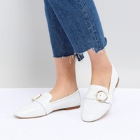 Kurt Geiger White Leather Circle Buckle Loafers at asos.com