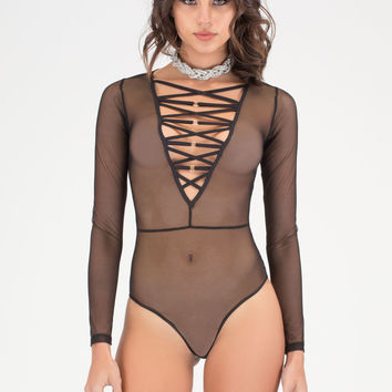 Ring Me Strappy Plunging Bodysuit GoJane.com