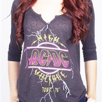 Buy Women's AC/DC High Voltage Henley T-Shirt Tee Shirt by Junk Food Online