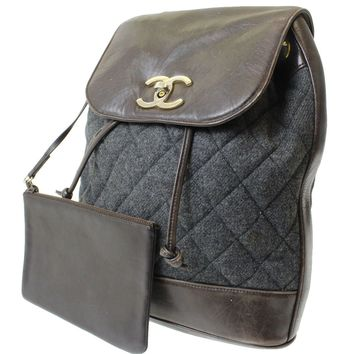 CHANEL Matelasse Quilted One Shoulder Bag Brown Leather Wool Vintage Auth 8405 M