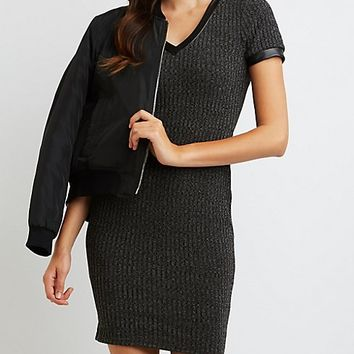 Ribbed Faux Leather-Trim Bodycon Dress
