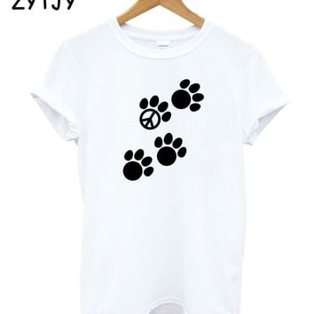 cat peace paw Print Women Tshirt Cotton Casual Funny t Shirt For Lady Girl Top Tee Hipster Tumblr Drop Ship HH-93