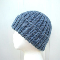 Blue Watch Cap, Beanie Hat, Hand Knit Merino Wool Blend, Men Women Teens